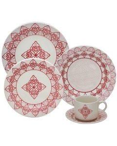 Jogo De Jantar Cerâmica 20 Peças Donna - Vermelho