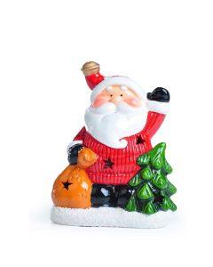 Papai Noel de Cerâmica Com Luz Santini - Vermelho