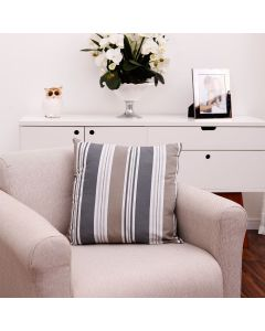 Almofada Decorativa Estampada 0,45cm x 0,45cmHavan - LISTRA BEGE/CINZA