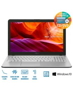 "Notebook X543UA i3/4GB/1TB/Win 10 Tela 15,6"" Asus - Prata"