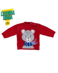 Blusão de Bebê Tricot Urso Yoyo Baby Bordo