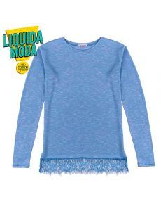 Blusa de 12 a 16 Anos com Barra Rendada Marmelada Azul Retro