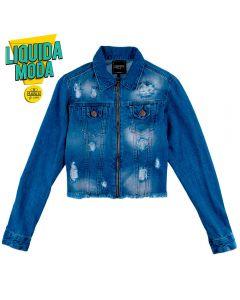 Jaqueta Jeans Feminina Adulto Rasgos Contatho Azul