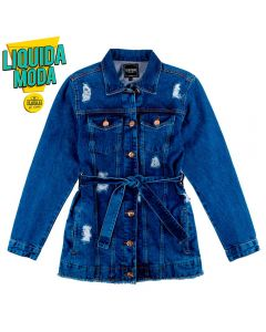 Jaqueta Jeans Maxi Feminino Adulto Contatho Blue