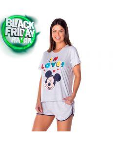 Pijama In Love Mickey Disney Mescla Claro