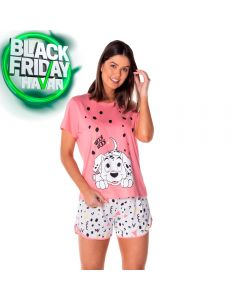 Pijama Curto 101 Dalmatas da Disney Rosa/Branco