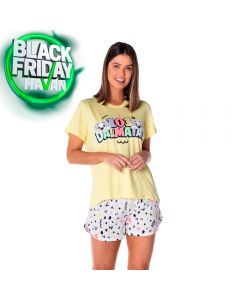 Pijama Curto 101 Dalmatas Disney Amarelo/Branco