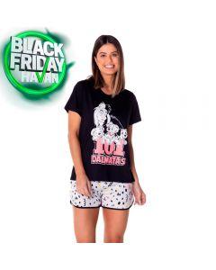 Pijama Curto Cruela De Vil Disney Preto/Branco