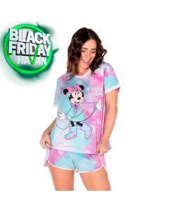 Pijama Curto Minnie Mouse Tie Dye Disney Rosa