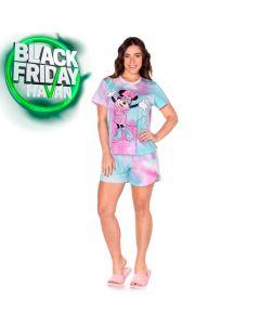 Pijama Curto Tie Dye Minnie Style Disney Rosa