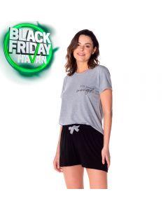 Pijama Curto com Estampa Holla Mescla/Preto