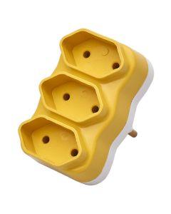Adaptador Multiplicador de Tomada com 3 Saídas FC - Amarelo