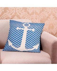 Almofada 48x48cm Linen Náutica - Âncora Listras Azuis