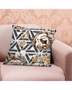 Almofada de Veludo Estampada 48x48cm - Geometrico Rosas