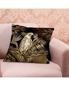 Almofada de Veludo Estampada 48x48cm - Calopsita Sepia