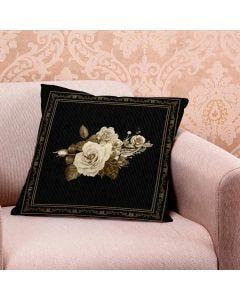 Almofada de Veludo Estampada 48x48cm - Flor Sepia