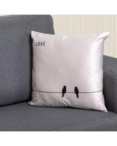Almofada de Veludo Estampada 48x48cm - Passaros Amor