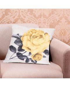 Almofada Decorativa 45x45cm Estampada com Zíper - Rosa Amarela