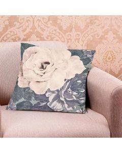 Almofada Decorativa 45x45cm Estampada com Zíper - Rosas Verde Musgo