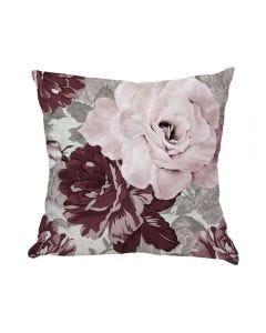 Almofada Decorativa 45X45cm Estampada Com Zíper - Rosas Rose