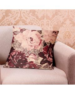 Almofada Veludo 48x48cm Estampada - Rosas Rose