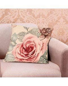 Almofada Veludo 48x48cm Estampada - Rosas Aquarela