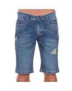 Bermuda Jeans com Puídos Thing Blue
