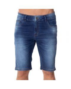 Bermuda Jeans com Used Laser Thing Azul