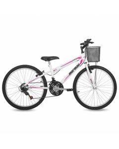 Bicicleta Aro 24 V-Brake Mormaii Fantasy com Cesto - Branca