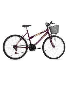 Bicicleta Aro 26 com Cesta 18V Donna Mormaii - Violeta