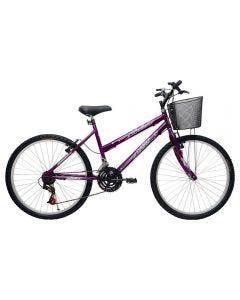 Bicicleta Aro 26 Mtb Bella Com Cesto Cairu - Roxo