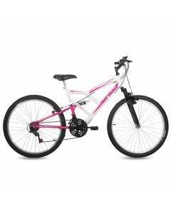 Bicicleta Aro 26 V-Brake Mormaii Fullsion + Suspensão - Branca