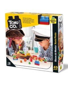 Blocos Tchuco Blocks Navio Pirata 49 Peças Samba Toys - 0247