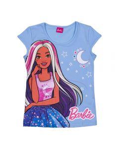 Blusa 12 a 16 Anos Cotton Barbie Moon Mattel Azul Claro