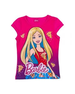 Blusa 4 a 10 Anos Cotton Estampado Barbie Pizzas Mattel Pink Pitaya