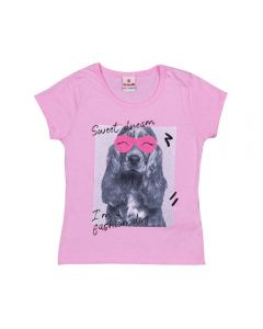 Blusa 4 a 10 Anos Dog Sweet Dream Marmelada Rosa Claro