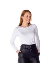 Blusa Básica Manga Longa Cotton List Branco
