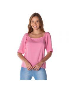 Blusa com Decote Quadrado Patrícia Foster Rosa