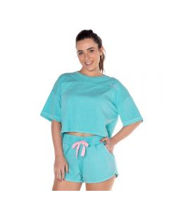 Blusa Cropped com Silk Scream Azul