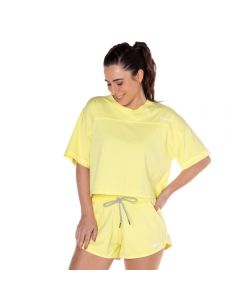 Blusa Cropped Estonada com Silk Scream Amarelo Lima