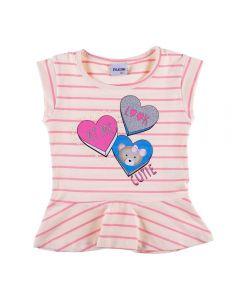 Blusa de 1 a 3 Anos Cotton com Babado Fakini Bege/Rosa