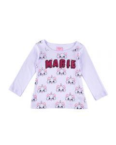 Blusa de 1 a 3 Anos Estampada Gatinha Marie Fakini Branco