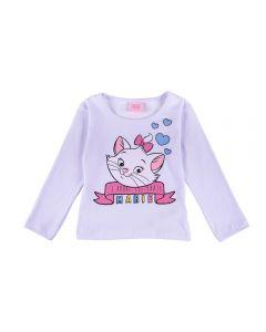 Blusa de 1 a 3 Anos Gatinha Marie Corações Fakini Branco