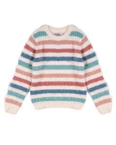 Blusa Tricot de 4 a 10 Anos Felpudo Marmelada Listrado 1