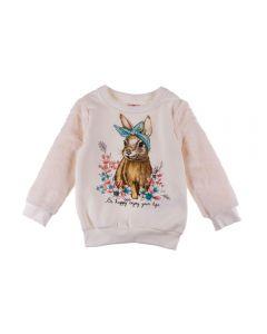 Blusão de 1 a 3 Anos Moletom Recortes Brandili Natural