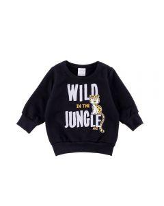 Blusão de Bebê Moletom Wild Jungle Alakazoo Preto