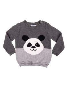 Blusão de Bebê Tricot Panda Yoyo Baby Mescla