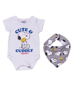 Body de Bebê Snoopy + Bandana Peanuts Branco