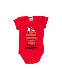 Body de Bebê Snoopy na Casinha Peanuts Tomate