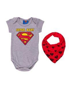 Body de Bebê Super Baby + Bandana Dc Comics Mescla Stone